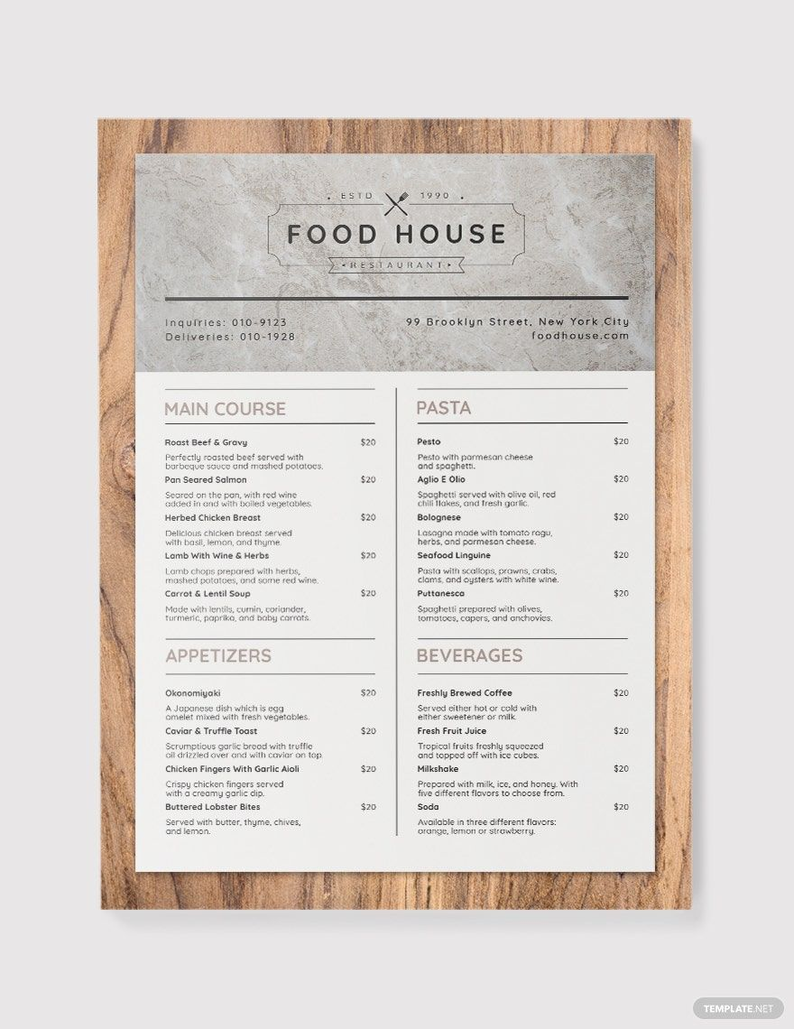 Printable Takeaway Menu Template in 2020 Menu template