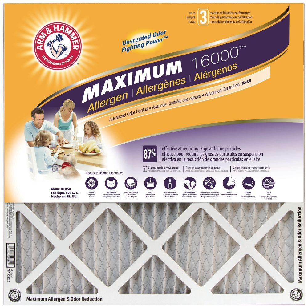 Arm Hammer 14 In X 25 In X 1 In Maximum Allergen And Odor Reduction Fpr 7 Air Filter 4 Pack Af Ah21425cs4 The Home Depot Electrostatic Filter Air Filter Air Filter Sizes