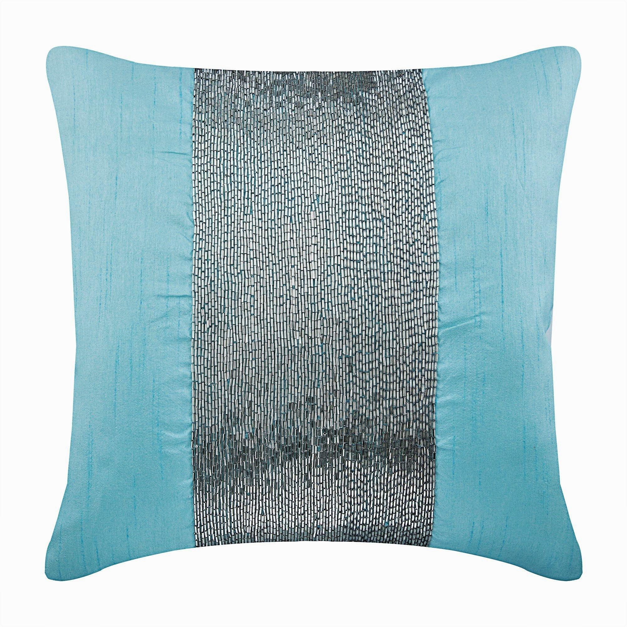 Designer Aqua Blue Cushions 16x16 Art Silk Throw Etsy Silk Throw Pillows Throw Pillow Covers Throw Pillows
