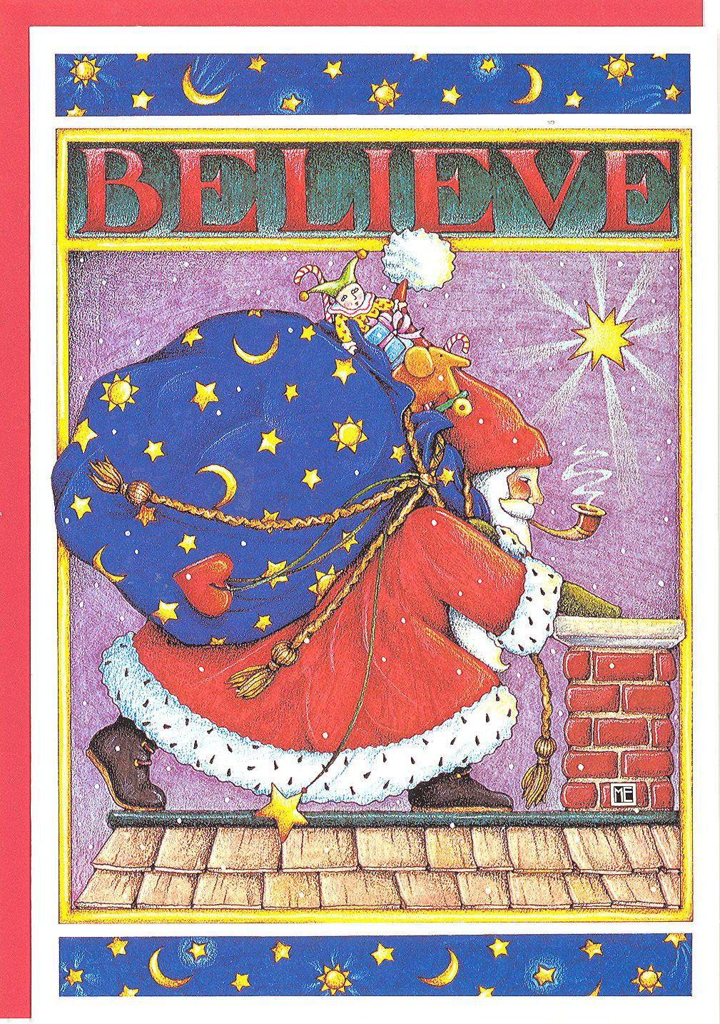 Mary Engelbreit Believe Santa Claus Chimney Christmas Card New w Red ...