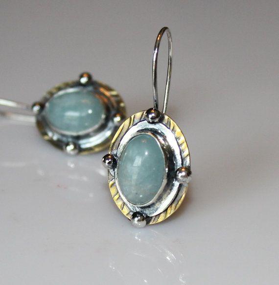 March birthstone - rustic Aquamarine earrings by MyFascinationStreen on Etsy