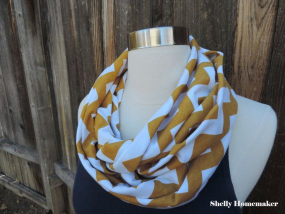 Infinity Scarf // Mustard and White Chevron by MrsShellyHomemaker, $18.00