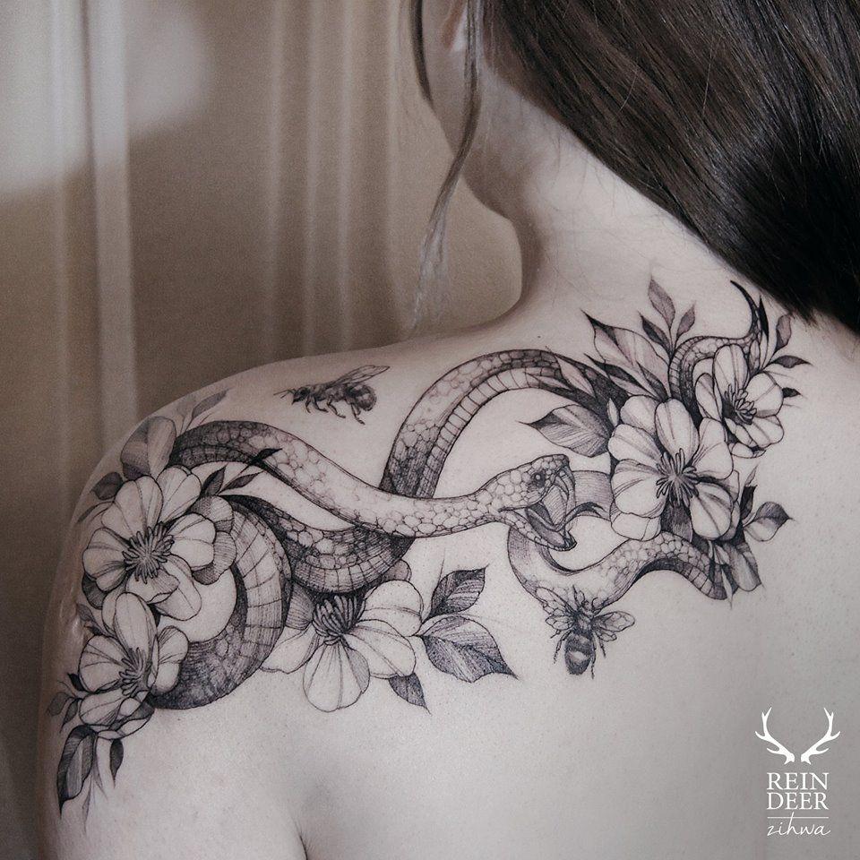 Zi Hwa Girl shoulder tattoos, Tattoos, Popular tattoos