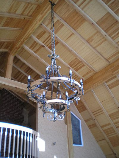Large Wrought Iron Chandelier Wagon Wheel Style Wood Chandelier Ceiling Lamp In 2019 Wrought