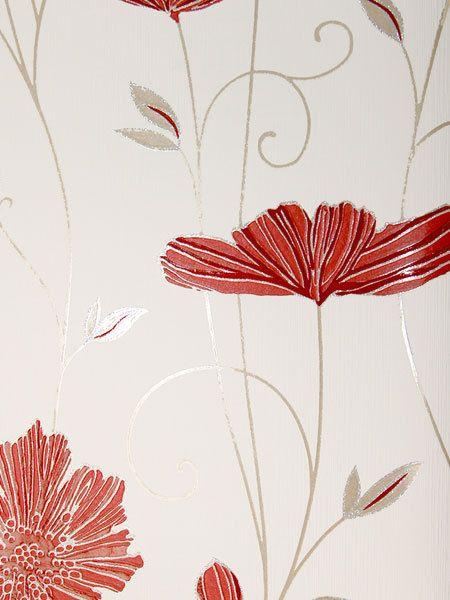Vlies Tapete Ps 13203 60 Floral Blumen Ranken Creme Rot Beige