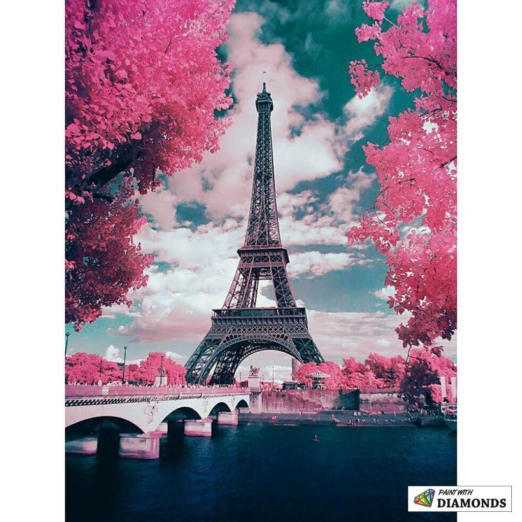 Pink Parisian Trees Paris Wallpaper Eiffel Tower Beautiful