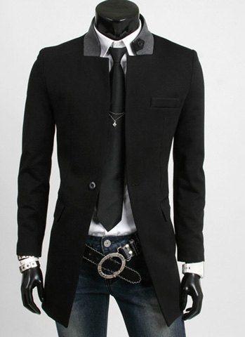 Slimming Fashion Color Block Stand Collar Fake Pocket Embellished Long Sleeves Blazer For Men