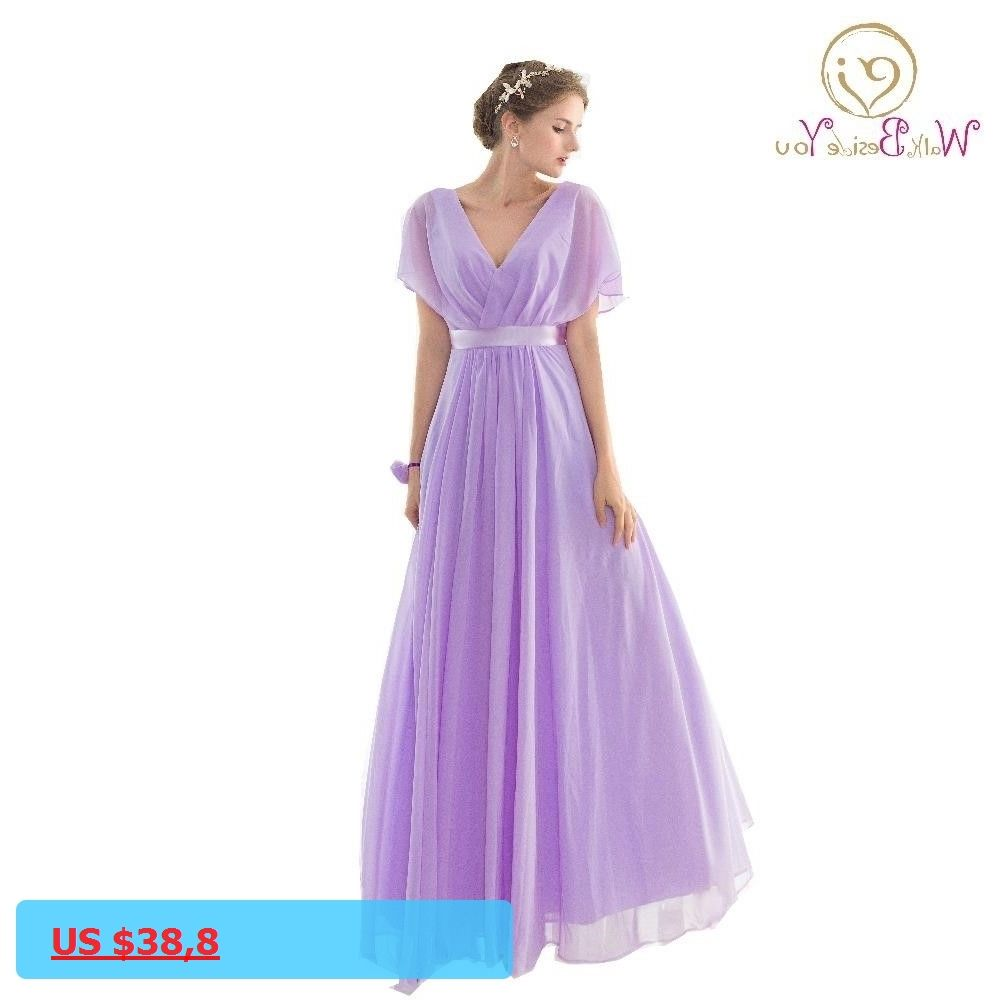 Real pictures robe honneur long lilac bridesmaid dresses short real pictures robe honneur long lilac bridesmaid dresses short sleeves v neck floor length chiffon bridesmaid ombrellifo Image collections