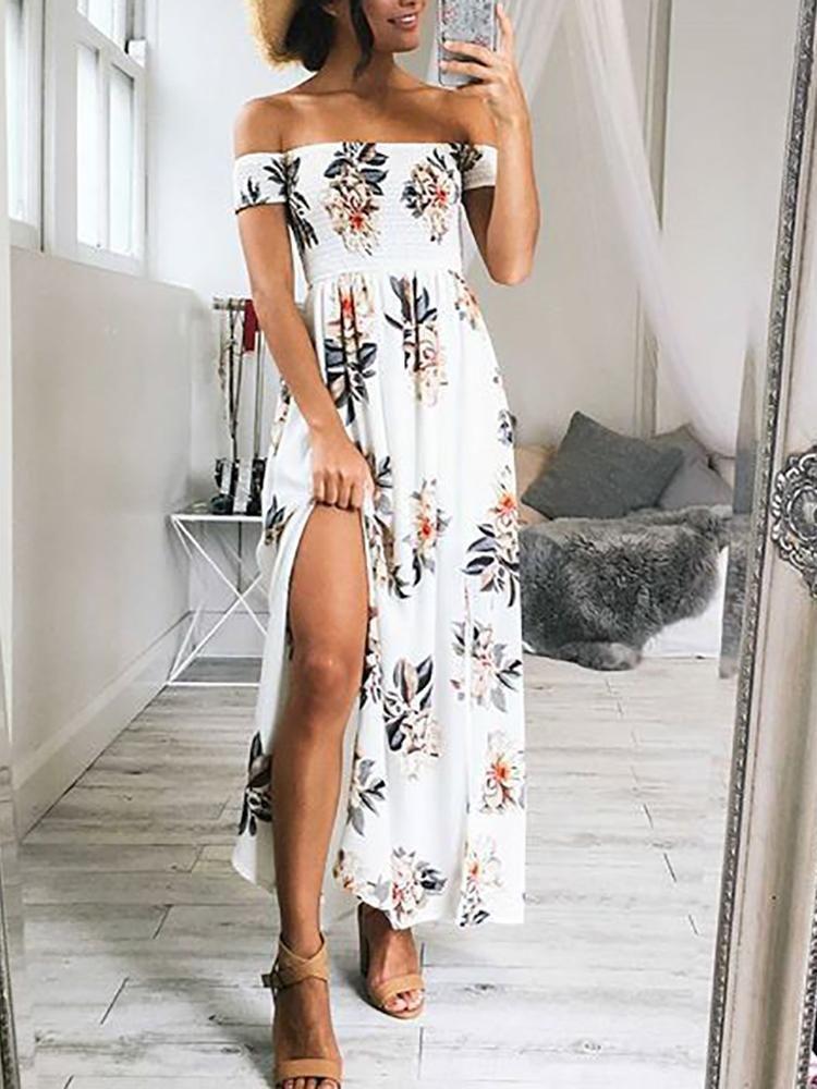643aefb59a75 Off Shoulder High Slit Boho Style Floral Maxi Dress