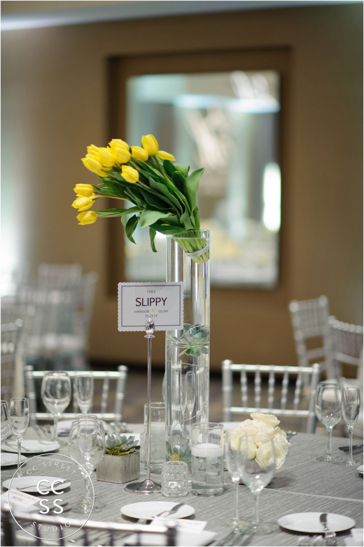 Wedding decorations yellow and gray  yellow wedding centerpieces  yellow tulips  gray wedding reception