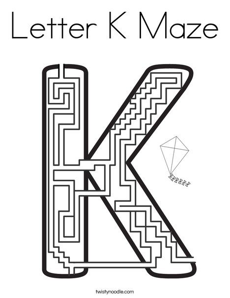 Letter K Maze Coloring Page - Twisty Noodle | Coloring ...