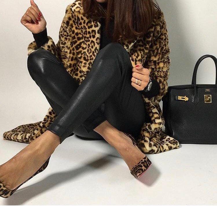 #Love #leoprints #coat #heels #leather #personalshopper