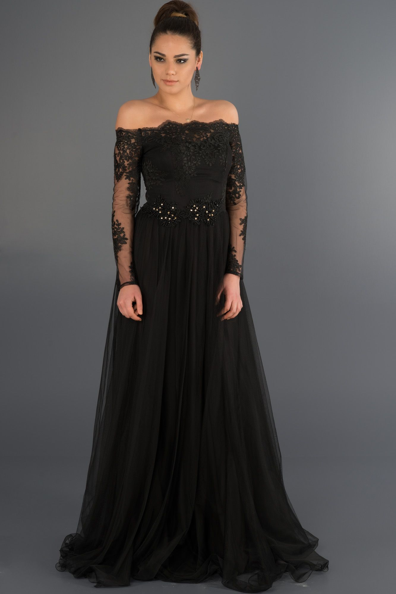 Siyah Dantelli Uzun Kollu Abiye Abu019 Elbise Kadin Kiyafetleri Moda Stilleri