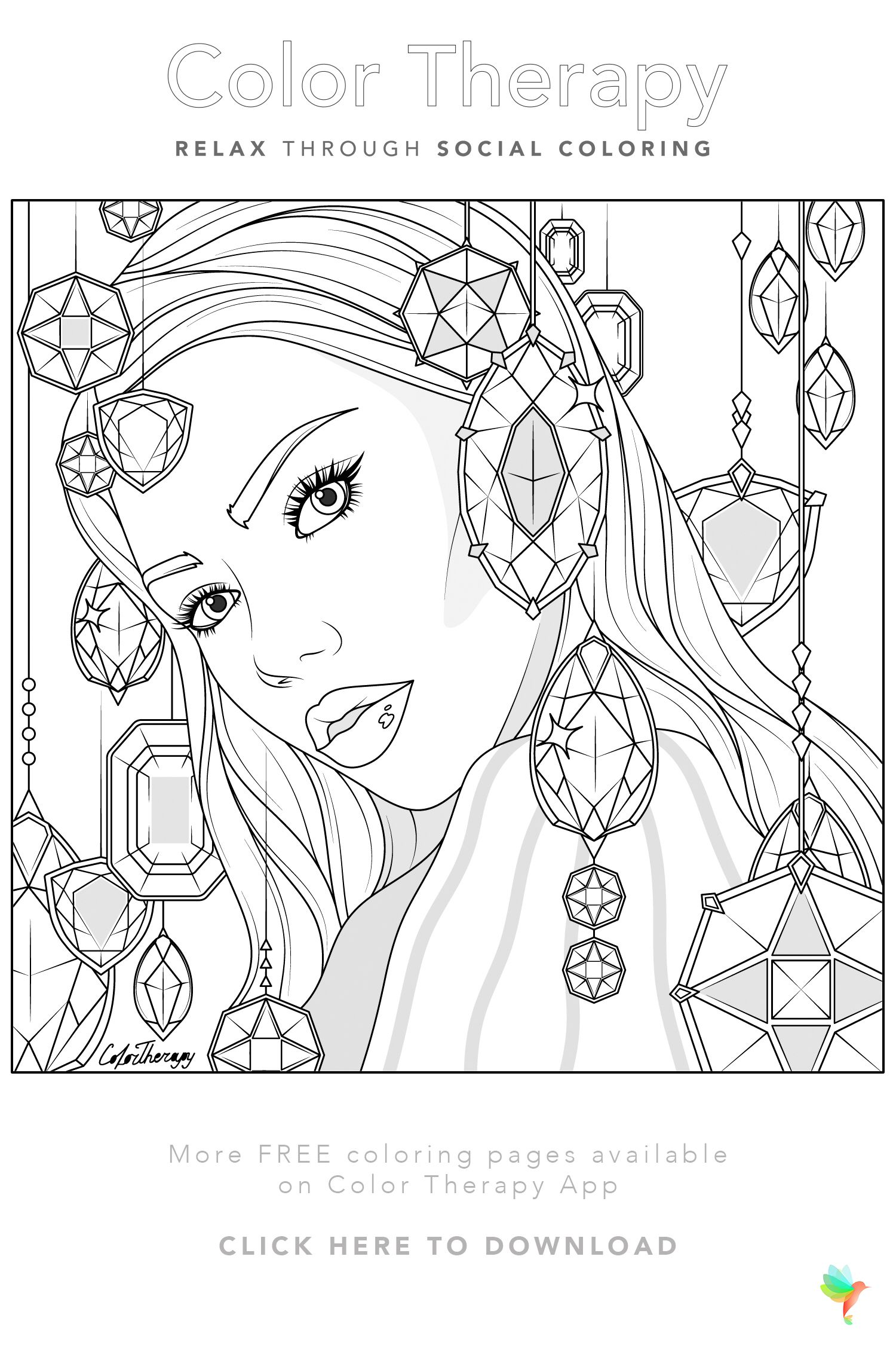 Color Therapy Gift Of The Day Free Coloring Template Horse Coloring Pages People Coloring Pages Free Coloring Pages
