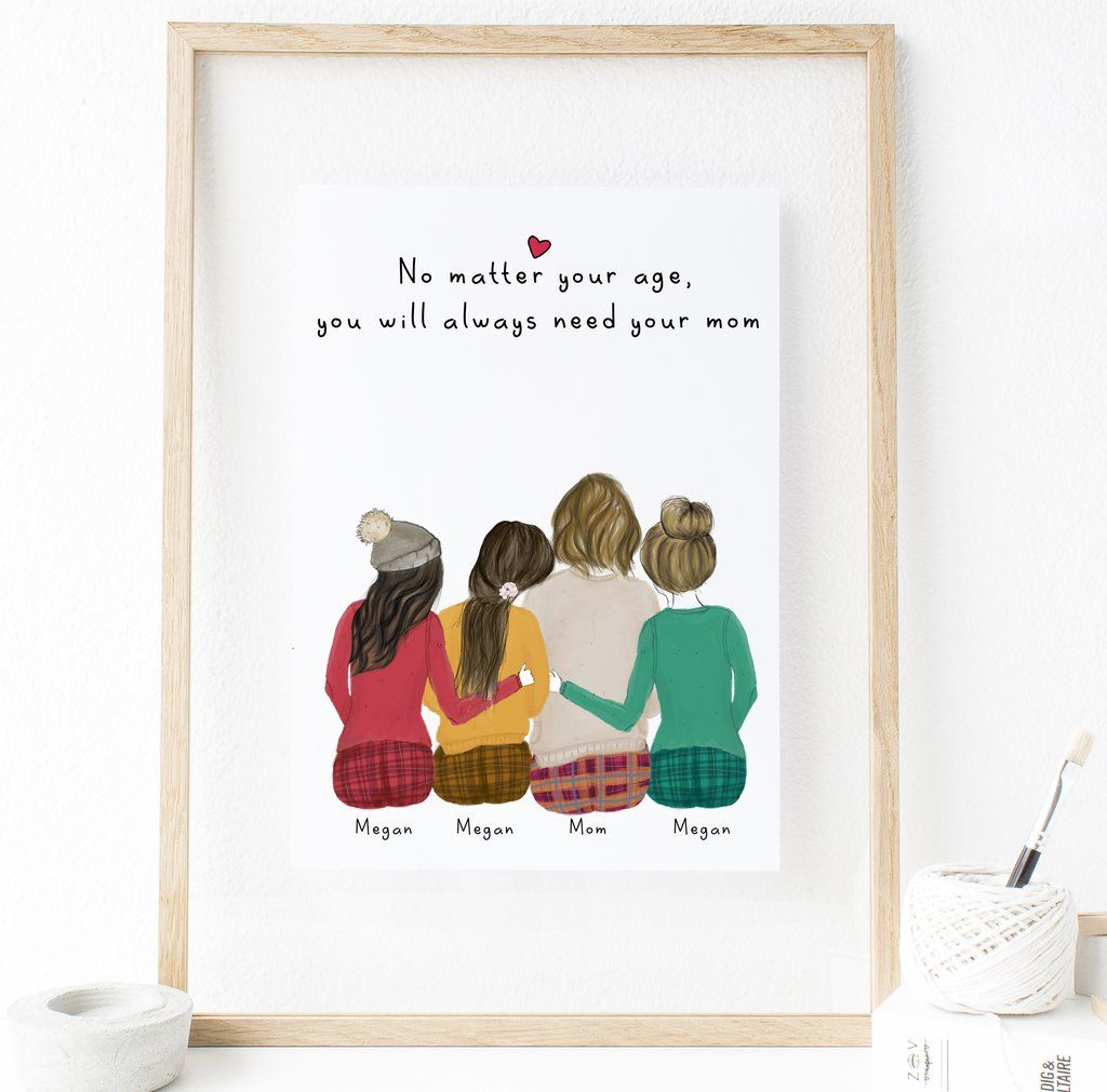 Personalized Daughters And Mom Print Art 3 Daughters Friendship Wall Art Sentimental Art Personalized Wall Art