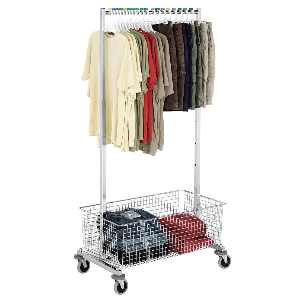 Grainger Approved Garment Rack Adj Height W X2f Wire Basket