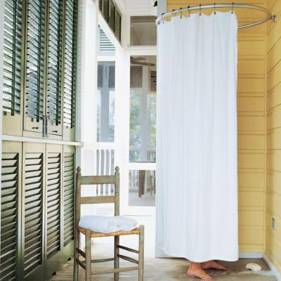 Summer Showers   Stay Simple   Stay Simple A Terry Cloth Curtain On A  Circular Rod Creates Privacy Around This Porch Shower. Decking Slanted Away  From The ...  Outdoor Shower Curtain