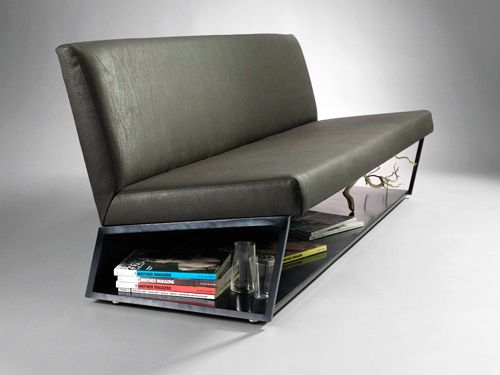 """v2 sofa Materials:     COM / COL - shown in black leather + blackened steel Dimensions:  72""""W x 26""""D x 30""""H upholstery options:  mohair, leather, wool, velvet, ultrasuede, COM / COL base options:  brushed steel, polished steel, blackened steel, blackened bronze"""
