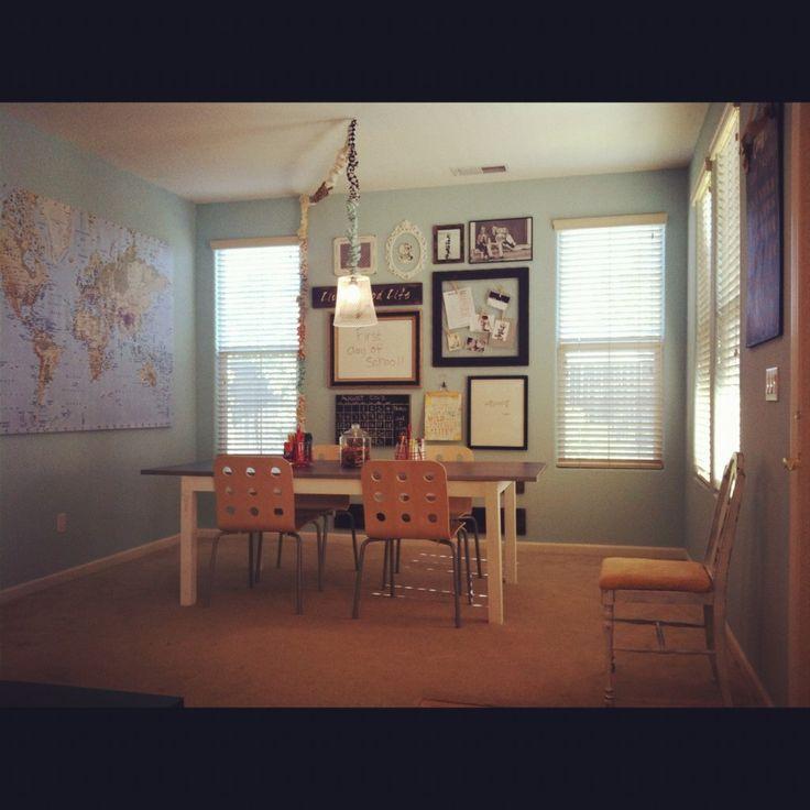 beautiful homeschool classroom- love the chairs! & the big world map!,  beautiful homeschool classr