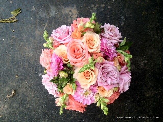 Centerpiece of Pink, Peach and Soft Yellow Dahlias and Roses and Snaps