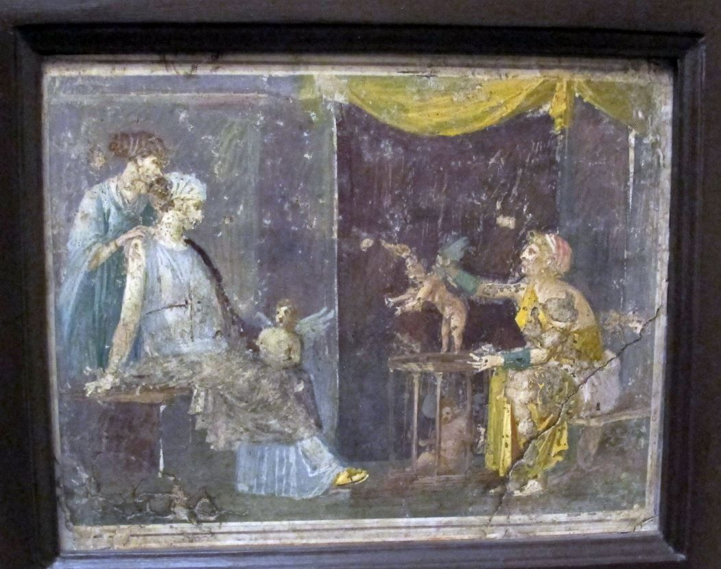 Roman fresco with Cupids seller, from Villa of Arianna ...