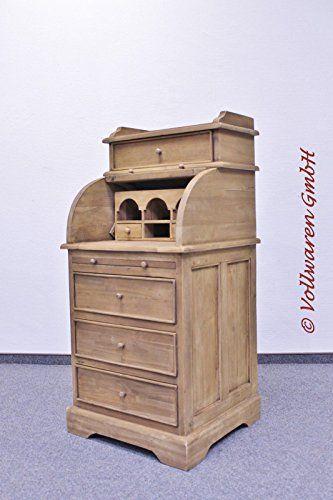 Schultisch antik  TEAK ROLLTOP SEKRETÄR Teakholz antik massiv Schreibtisch ...