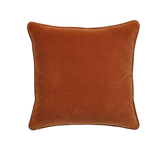 Burnt Orange Pillow Cover Cotton Velvet Pillow Cover Orange