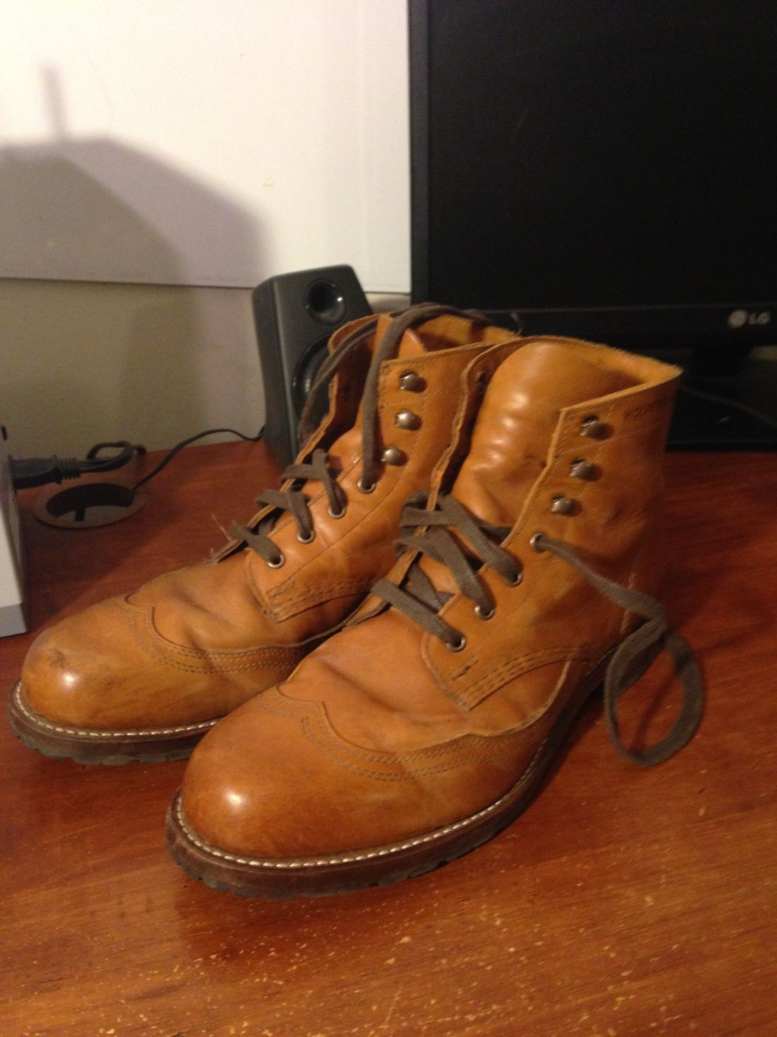 66239ab3767 Wolverine Wolverine 1000 Mile Tan Men's Addison Wingtip Boots Size ...
