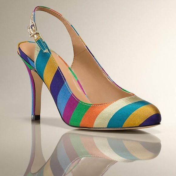 CCO❗️Talbots Sling Back Rainbow Stripe Pumps So chic and perfect for a pop of color! Like new condition, never worn. No trades!! 0481620cmr Talbots Shoes Heels