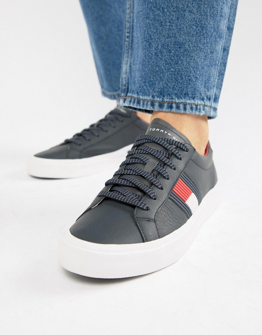 d9ab69de1db3 TOMMY HILFIGER FLAG DETAIL LEATHER SNEAKER IN NAVY - NAVY.  tommyhilfiger   shoes