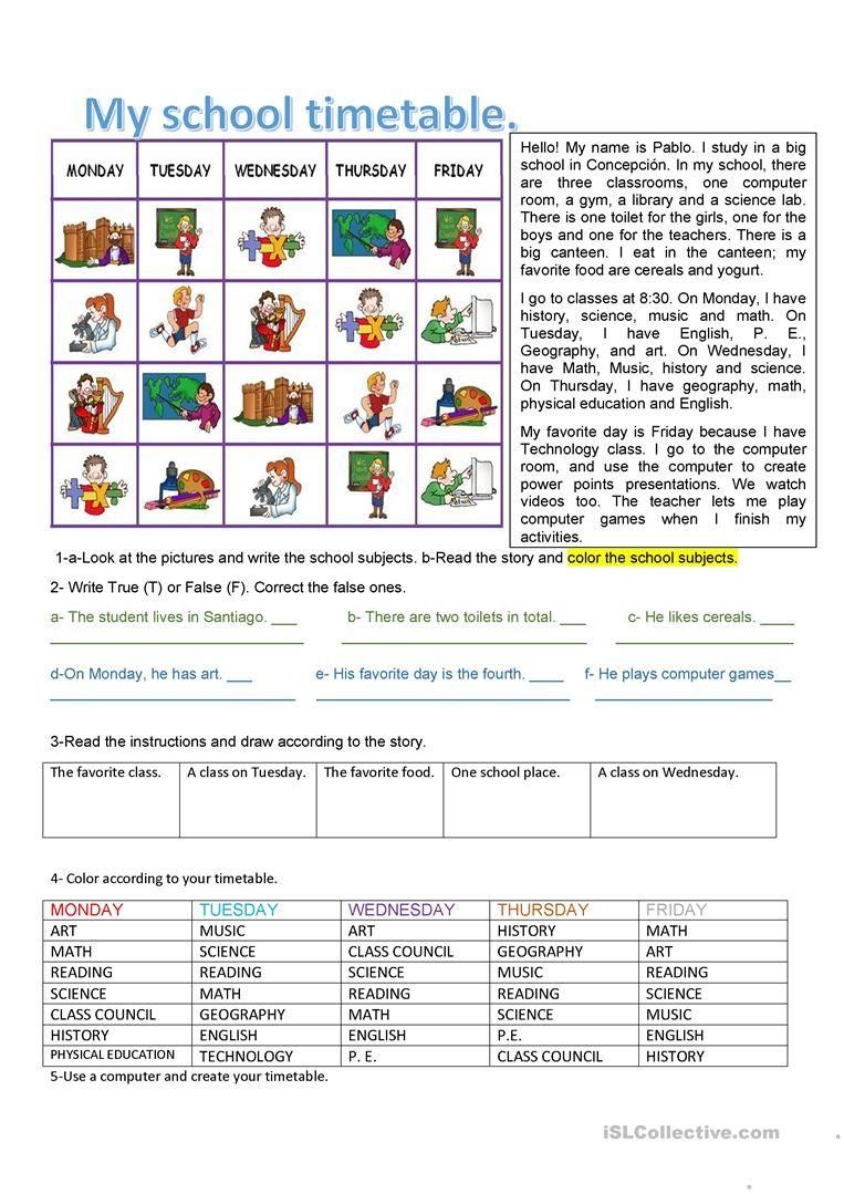 School Timetable Worksheet Free Esl Printable Worksheets Made By Teachers School Timetable School Teaching Jobs [ 1079 x 763 Pixel ]