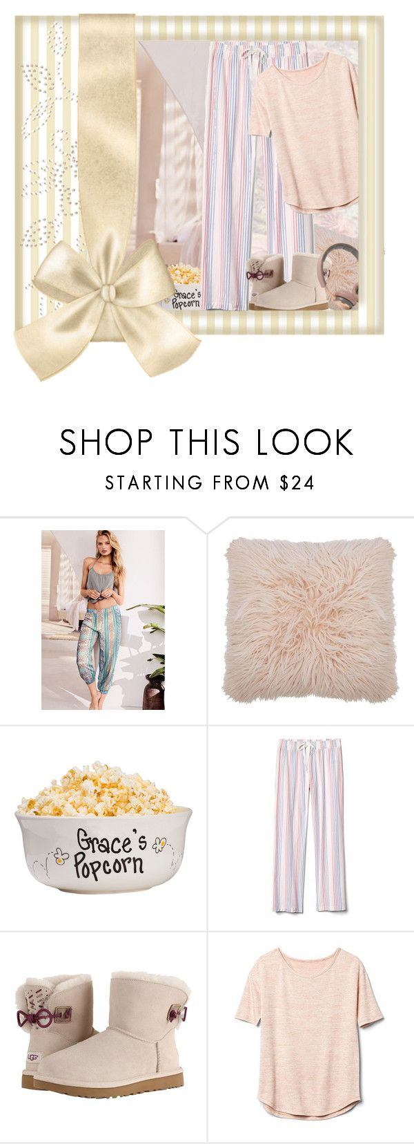 """""""Comfy Pastel Outfit"""" by ladygroovenyc ❤ liked on Polyvore featuring Victoria's Secret, M&Co, Gap, UGG, B&O Play, pastel and pajamas"""