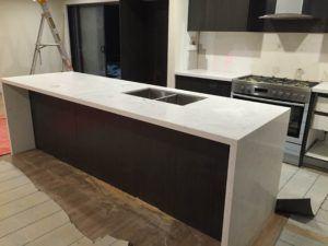 Carrara Prefabricated Quartz Kitchen Benchtop and island ...