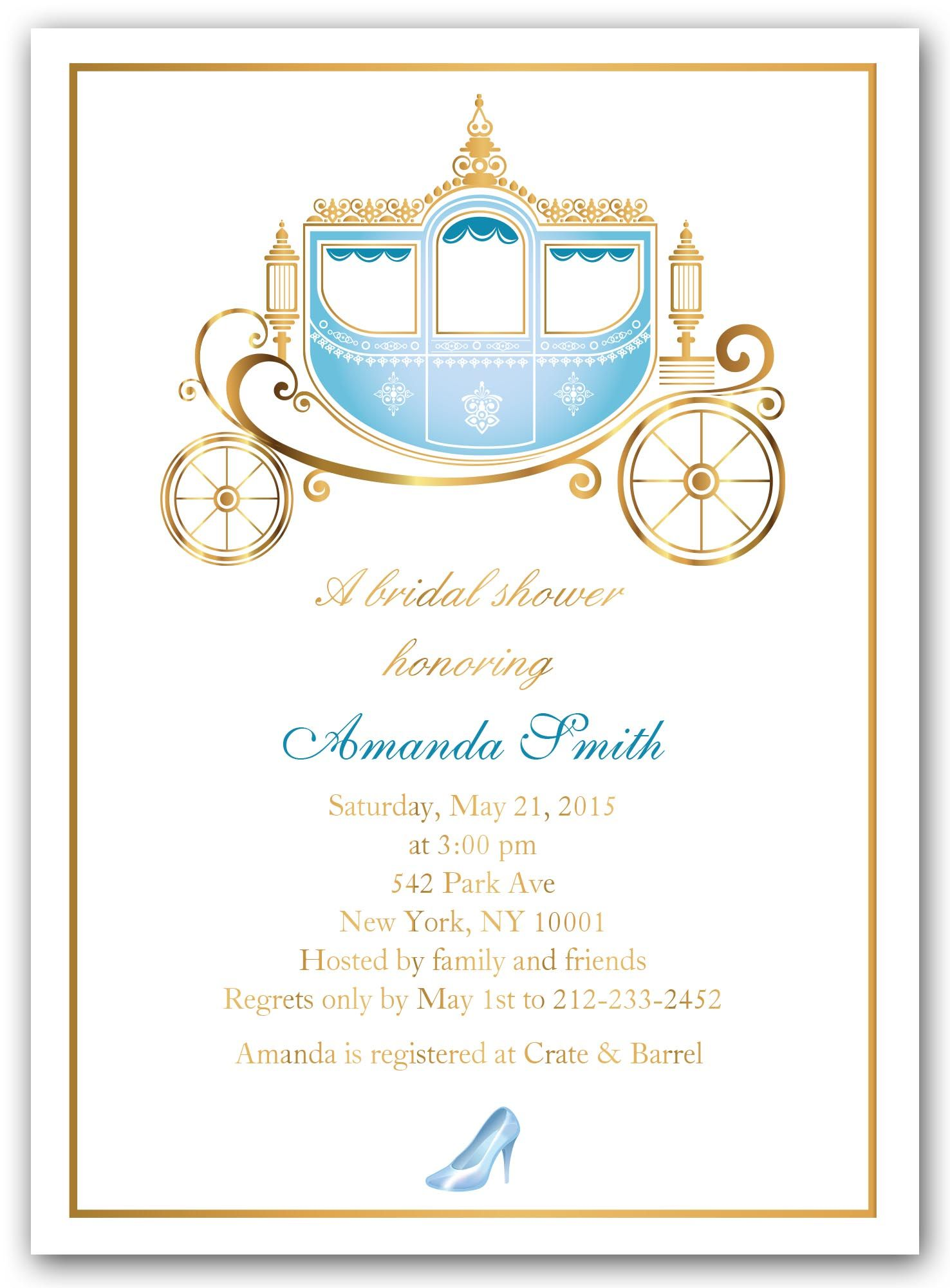 cinderella shower bridal shower invitations