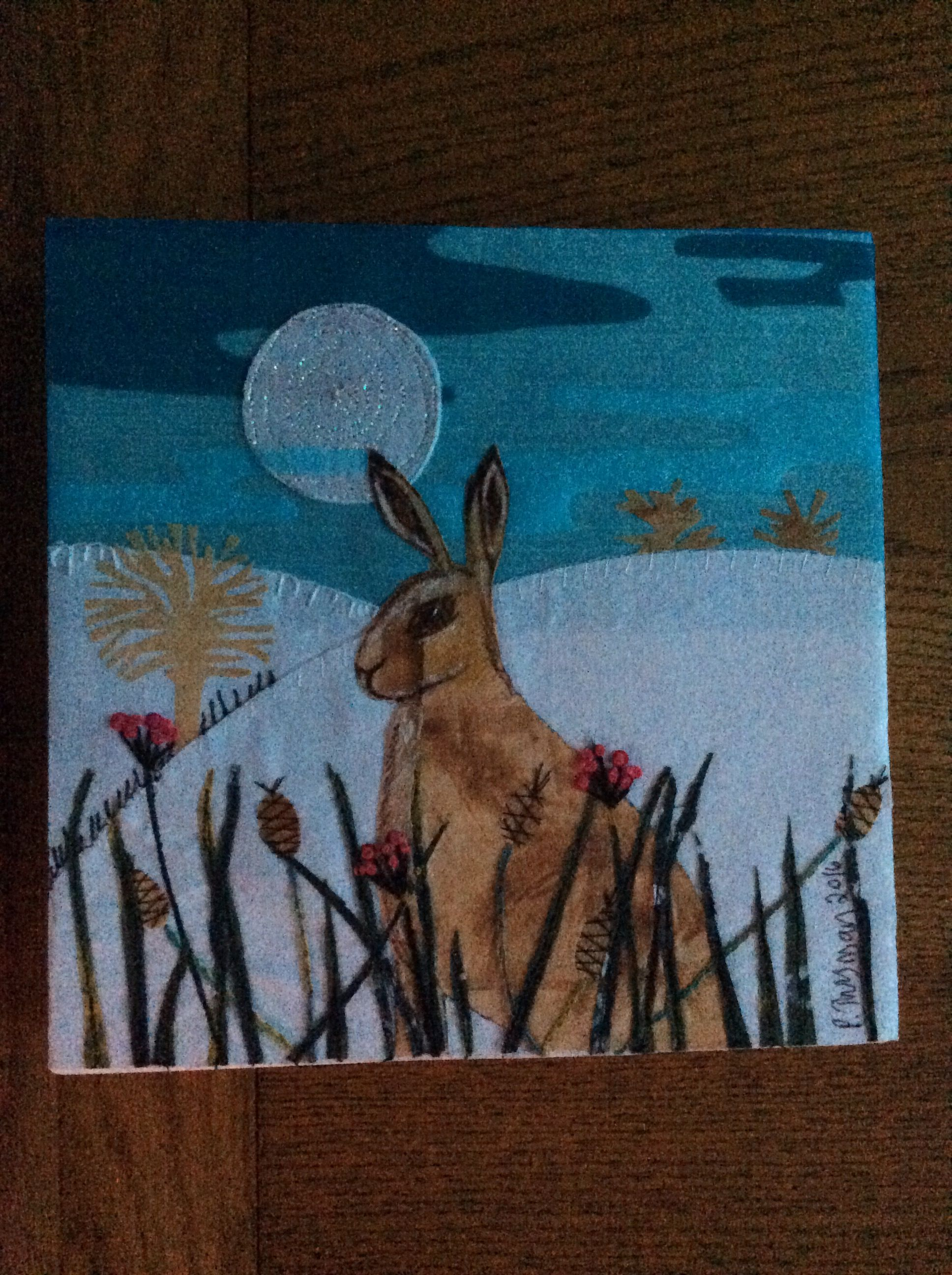 Inspired by a Christmas card from last year hand and machine embroidered.