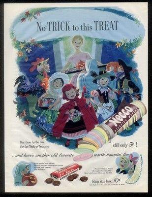 Vintage Halloween Ad ~ Necco Wafers ©1952