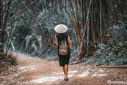 handsome man tourist in vietnamese hat walking at bamboo forest , #Aff, #tourist, #vietnamese, #handsome, #man, #bamboo #Ad