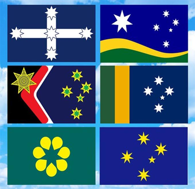 Six alternative designs for the Australian flag; all feature the ...