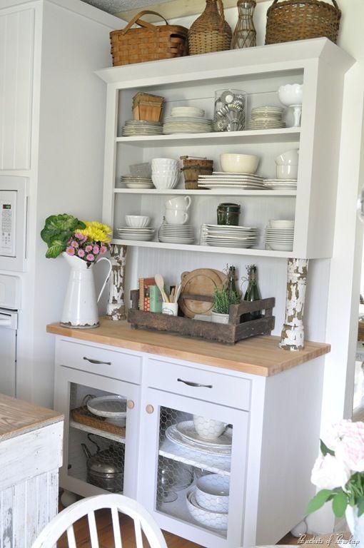 New Kitchen Hutch  ~ ♢ Farmhouse Rustic Vintage & Primitive Impressive White Kitchen Hutch Design Decoration