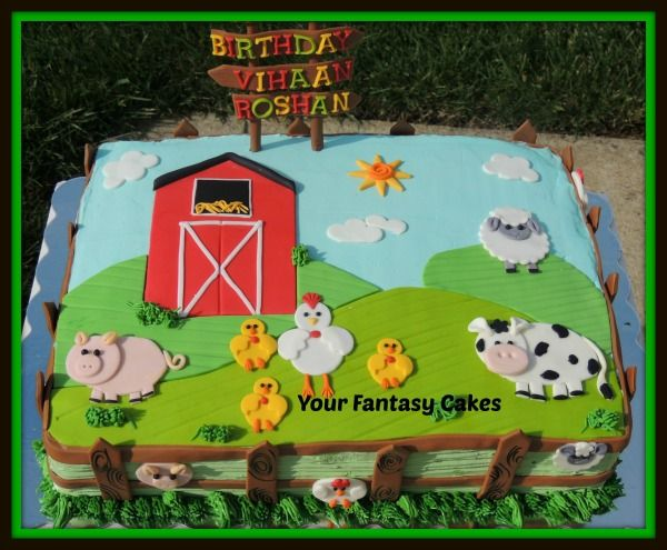 Farmhouse Fun Shower Sheet Cakes Farm Themed Cake