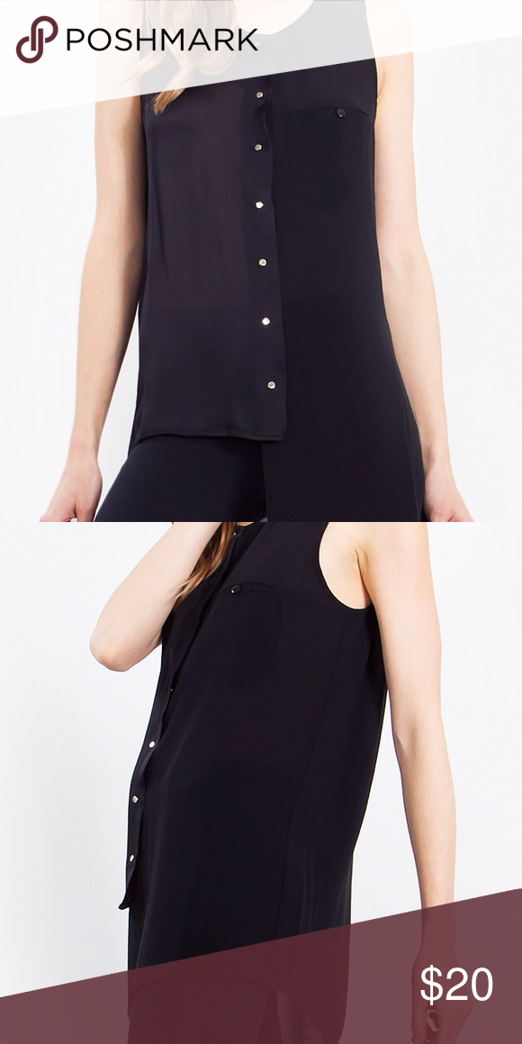 Sheer Hi Low Tank Blouse Sheer black button up tank is woven with pearl white buttons down the center of the front. Asymmetrical hemline . Boutique Tops Button Down Shirts