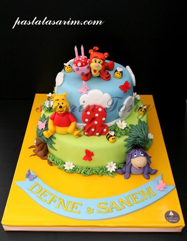 Winnie The Pooh 2nd Birthday Cake Twins Defne Sanem Medium