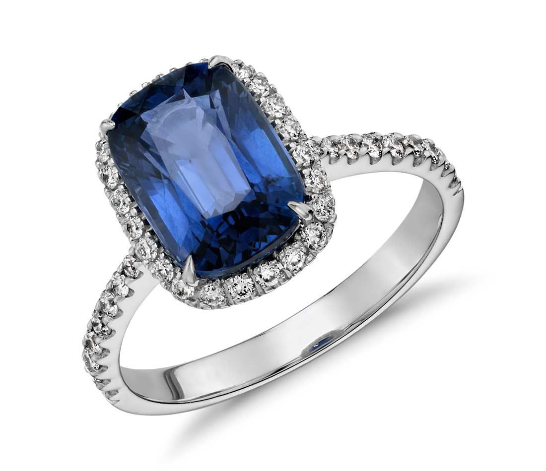 ring three sapphire cut in platinum hamilton cushion stone