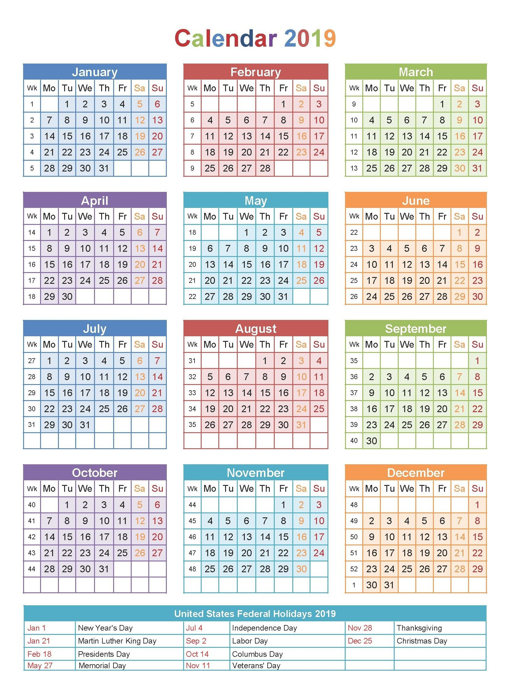 Free Editable Usa 2019 Calendar Pdf Excel Word Templates