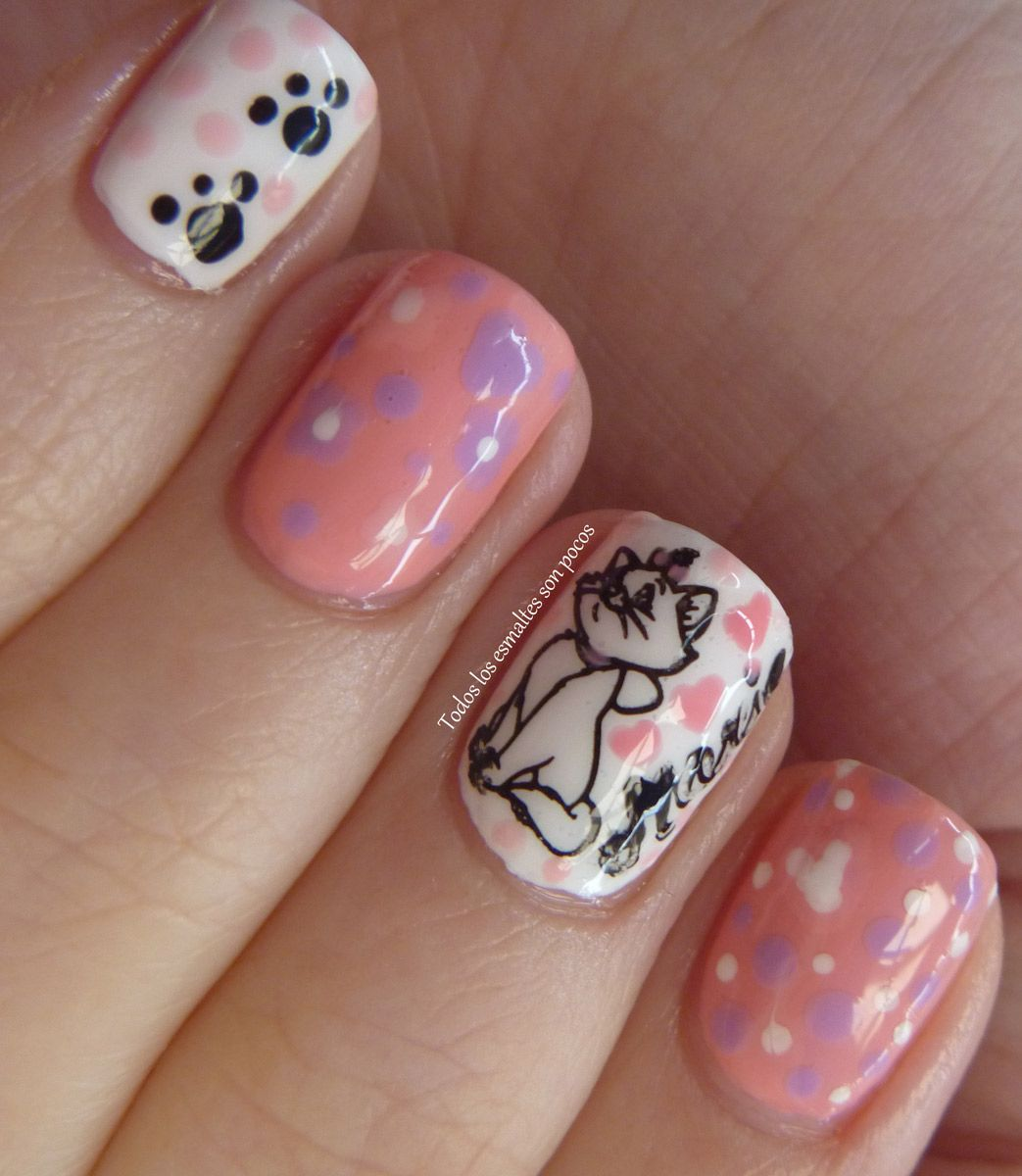 Cute Cat Design Nail Art - I love this one, since I am a cat\'s human ...