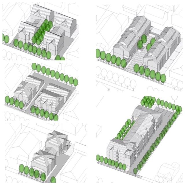 Examples of five prototype varioations for infill housing for Prototype house plan