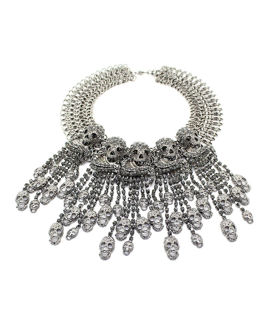 41e7bdea265a84 Look at this Eye Candy LA Silvertone Skull My Neck Statement Necklace on   zulily today!