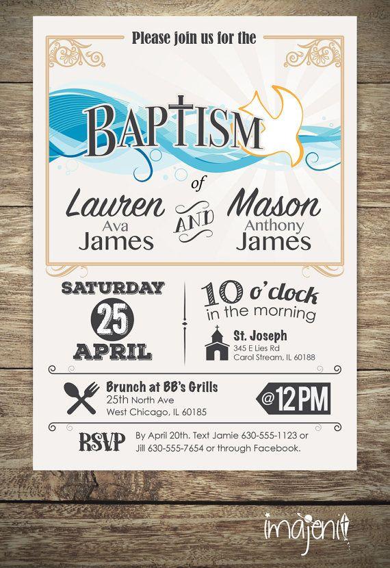 invitacin de bautizo para nio o nia 1 o 2 nombres