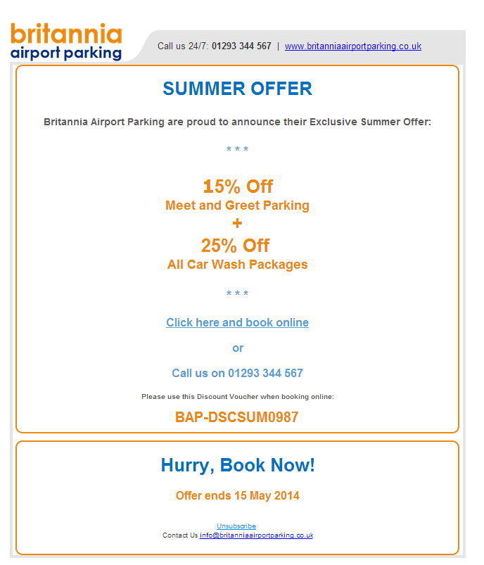 Summer Offer Holiday Offer Britannia Airport Parking