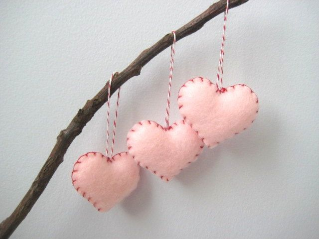 Peppermint Pink and Red Heart Eco Felt Ornaments